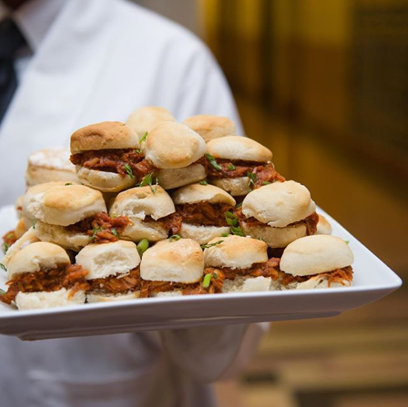 Messinas House Smoked Pulled Pork Sliders on Scratch Buttermilk Biscuits