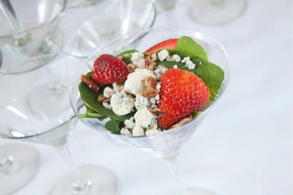 martini glasses of strawberry spinach salad