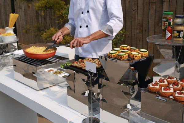 In-home caterers action station